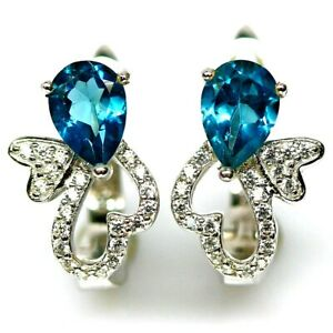 SWEET AAA LONDON BLUE TOPAZ EARRINGS WITH WHITE CZ ACCENTS 925 STERLING SILVER