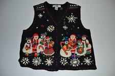 SEGUE UGLY CHRISTMAS SNOWMAN FROSTY BLACK HOLIDAY SWEATER VEST SIZE LARGE L
