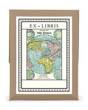 Cavallini & Co. World Map EX Libris Bookplate Set