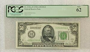 1928 A  $50 St Louis Green Seal Federal Reserve Note ~~ PCGS 62 NEW
