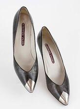 "Martinez Valero 8.5N Metallic Brown Croc Emboss Leather Silver Tip 3"" Heel 322"