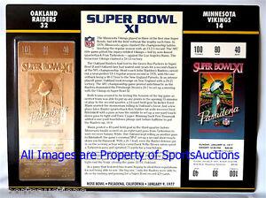 SUPER BOWL 11 OAKLAND RAIDERS vs VIKINGS Willabee & Ward 22KT GOLD TICKET  SB XI
