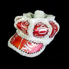 RARE Coca Cola Folk Art Crocheted Hat Coke Can Cap Made With Pop Cans Soda Art