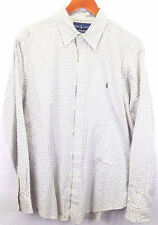 Ralph Lauren Men's Classic Fit White/Grey Plaid Long Sleeve Dress Shirt L
