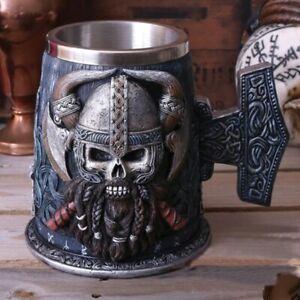 Danegeld Tankard Mug Viking Coffee Beer Mugs With Stainless Steel, Wooden