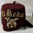 """Shriners Fez Hat Vintage El Bekal Masonic Regalia Red Embroidered 22.25"""" 7 1/8"""