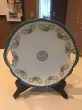 """VINTAGE IMPERIAL CROWN CHINA AUSTRIA TWO HANDLE SANDWICH CAKE PLATE 10 3/4"""""""