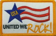 USA UNITED WE ROCK! Patch With VELCRO® Brand Fastener Military Gold  Border