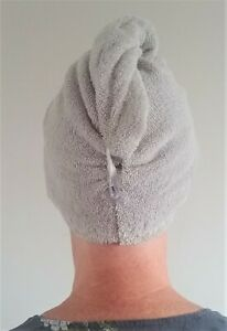 Hair Turban Towel in Light Grey 100% Cotton Absorbent Soft Wrap + Loop & Button