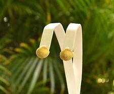Shells Pierced back Stud Earrings Retro Classic Elegance 12K Gold Filled