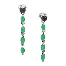 De Buman 925 Silver 1.46ctw Emerald & Black Diamond Ladies Pair Dangle Earrings