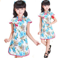 New Cute Girls White and Blue Flower Chinese Dress 5-6 Years