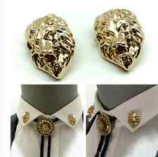 Men's Domineering Lion Head Brooch Pin Suit Shirt Collar Button Gold Clip 2Pcs