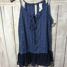 Society Girl Women's Tank Top XS Blue Embroidered Aztec Hippie Ruffle Btm  NEW