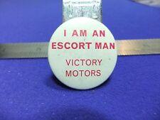 vtg tin badge ford i am an escort man victory motors 1960s car motoring advert