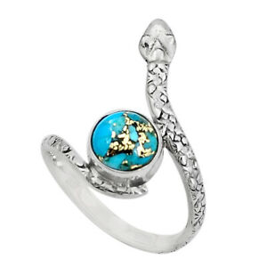 3.13cts Blue Copper Turquoise 925 Sterling Silver Snake Ring Size 9 P31348