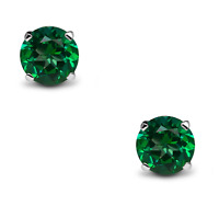 1.5Ct Emerald Solitaire Stud Earrings In 18K White Gold Over Sterling