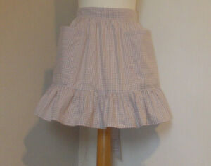 Frilly Toffee 3mm Gingham (Short / Mini Length)Vintage Style Half / Waist Apron