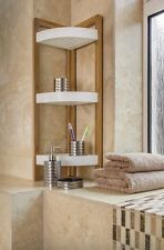 BAMBOO 3 TIER BATHROOM SHOWER CORNER CADDY FREE STANDING TIDY ORGANISER SHELVES