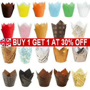 50Pcs Large Tulip Muffin Cases Cupcake/muffin Wraps Multiple Colours Wrapper  UK