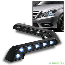 Hyper White 6 Led Benz-Style L-Shaped Black Drl Daytime Bumper Fog Lights Pair