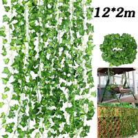 12er 2m Efeugirlande Efeubusch Grünpflanze Künstliche Kunstpflanze Deko Hochzeit