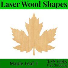 Maple Leaf 1 Laser Cut Out Wood Shape Craft Supply - Woodcraft Cutout