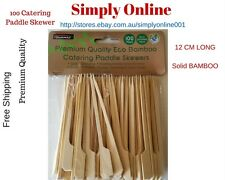 100 x BAMBOO CATERING PADDLE SKEWERS DISPOSABLE FINGER FOOD COCKTAIL BBQ