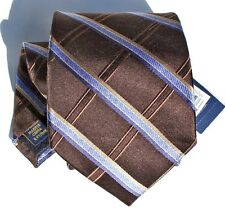 NEW Mens Silk Tie Necktie Brown Blue Plaid Stripe Diamond Grid by Club Room T117