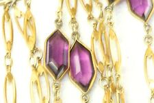 Glass 60 Inch Watch Chain Necklace Victorian Antique Gold Over Brass Purple