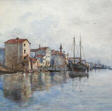 Antikes tolles Aquarell Fischerboote am Strand von Chioggia Italien ..
