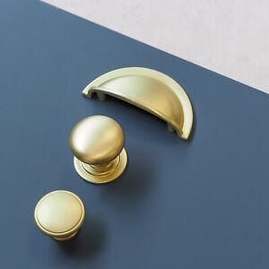 Brushed Brass Shaker Cup Handle & Knobs | Kitchen Cabinet Door Drawer Furniture