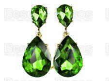 CLIP ON EARRINGS vintage FACETED GLASS CRYSTAL DROPS green/gold teardrop SCREW