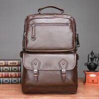 Waterproof Mens Genuine Leather Black Backpack Laptop Bag Travel School Satchel
