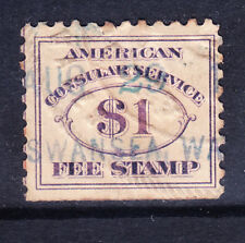 USA Consular Service Fee stamp Scott RK10 superb used copy - perf 10. Cat $1000