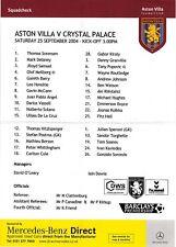 Teamsheet - Aston Villa v Crystal Palace 2004/5