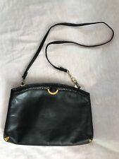 Vintage 70s Supreme Black Leather Snake Skin Trim Cross Body Shoulder Clutch Bag