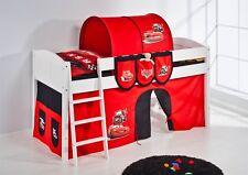 Spielbett Bett -LANDI - CARS -Teilbar - Kiefer Weis - mit Vorhang