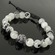 Dragon Bead Braided Bracelet Rutilated Quartz Sterling Silver 10mm Gemstone 1705