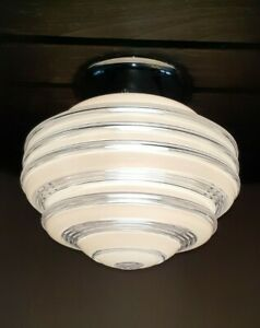 Vtg Art Deco Frosted/Clear Atomic Glass Shade Ceiling Light Fixture Chandelier