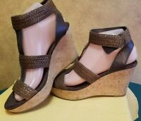 Women's Nine West Strappy Wedge Heel Sandals Brown Size 7-1/2M