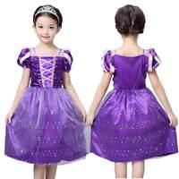 Girls Rapunzel Fancy Dress Costume Kids Princess Outfit UK Ages 3/4/5/6/7/8/9/10