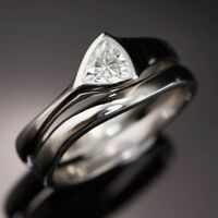 Gorgeous 925 Silver Wedding Rings for Women White Sapphire Ring Set Size 6-10