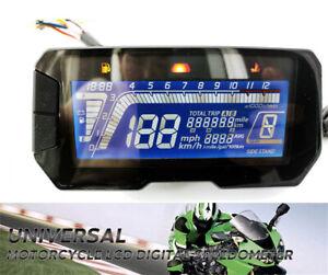12V Motorcycle Digital Speedometer Odometer RPM Speed Fuel Gauge Universal