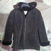 St John's Bay Women's Midi Coat Size Small Petite Suede Faux Fur Dark Brown