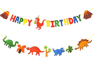 Kids Dinosaur Party Decor Supplies with Happy Birthday Banner Sign and Dinosaurs