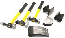 7Pc Auto Body Fiberglass Fender Repair Tool Hammer Dolly Dent Bender Auto Kit