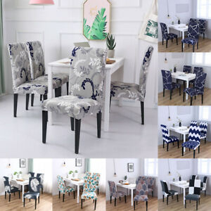 1/4/6pcs Printed Chair Covers Dining Chair Stretch Protector Seat Slipcovers