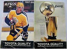 Los Angeles Kings ~ Lakers Vintage Pocket Schedule NHL NBA 1987-88 Free Shipping