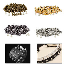 50pcs x 8mm Brass Punk Cone Studs Spike Rivet with Pins for DIY Leather Crafts